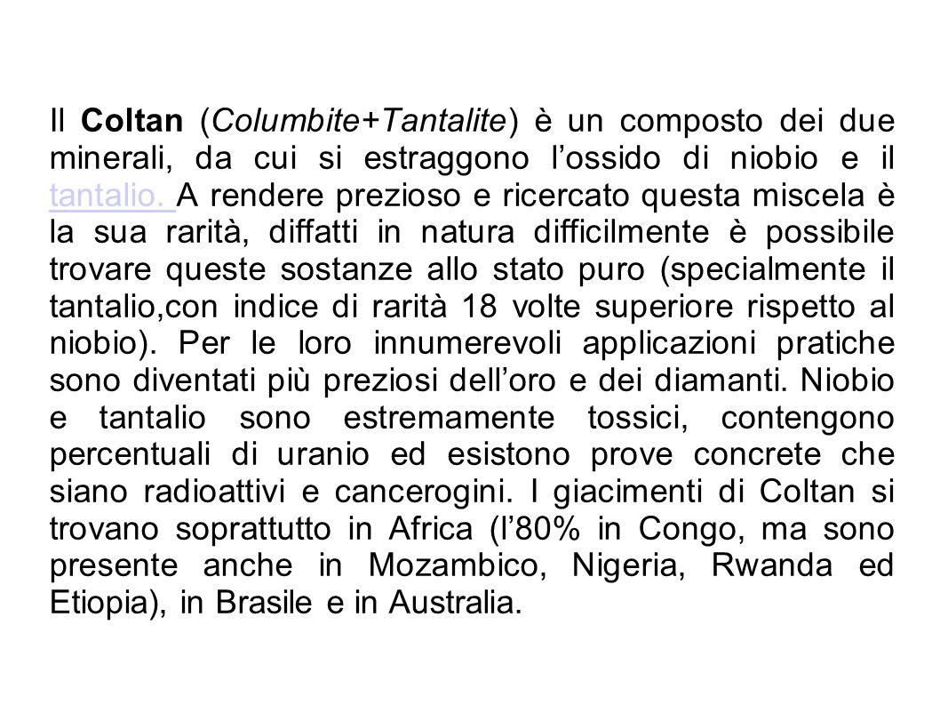 Il Coltan (Columbite+Tantalite) è un composto dei due minerali, da cui si estraggono l'ossido di niobio e il tantalio.