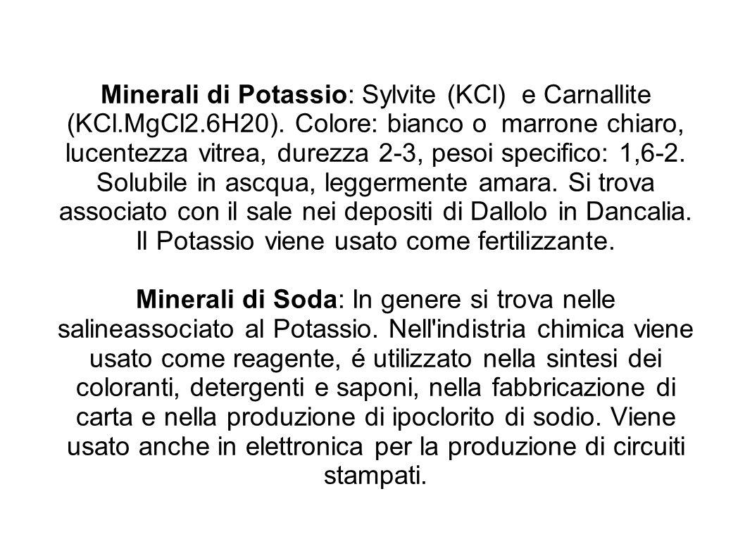 Minerali di Potassio: Sylvite (KCl) e Carnallite (KCl. MgCl2. 6H20)