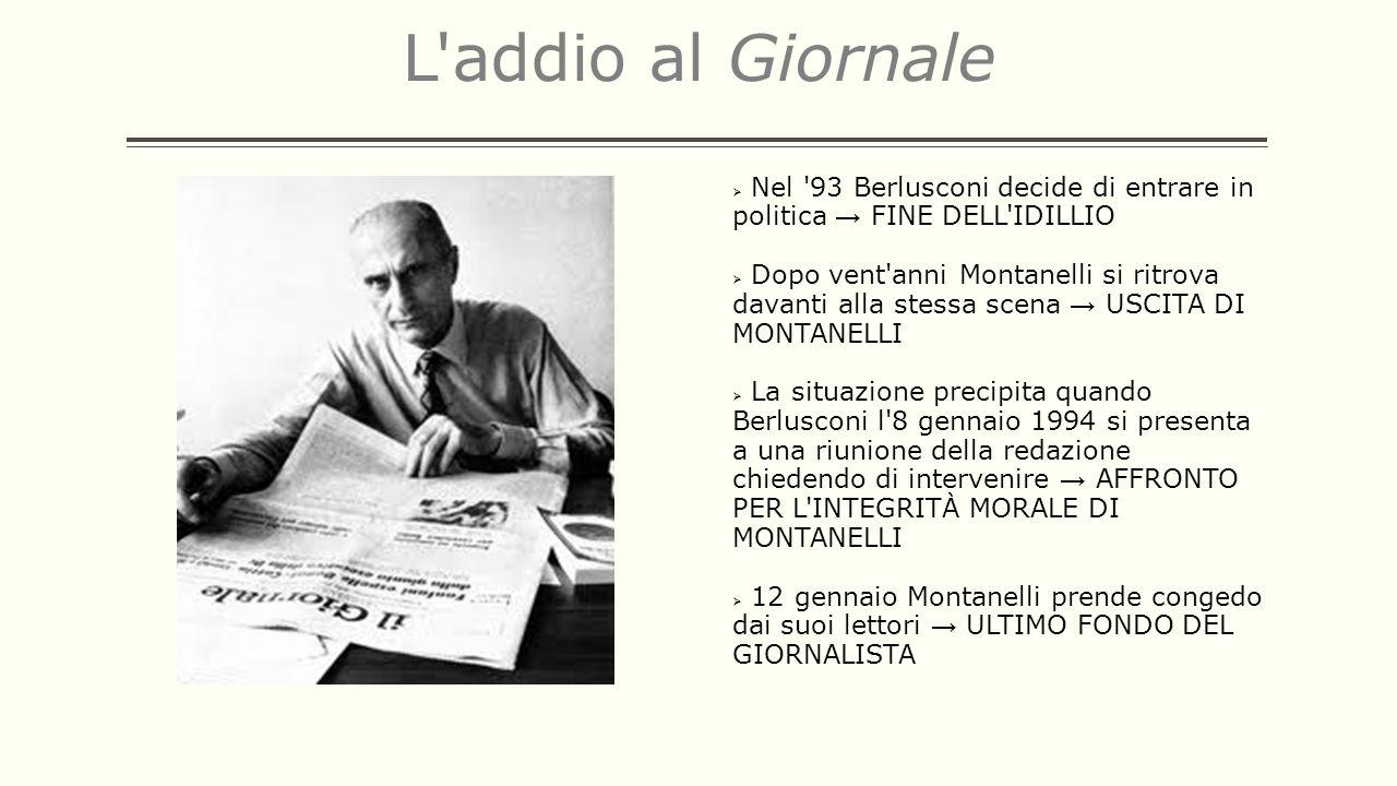 L addio al Giornale Nel 93 Berlusconi decide di entrare in politica → FINE DELL IDILLIO.