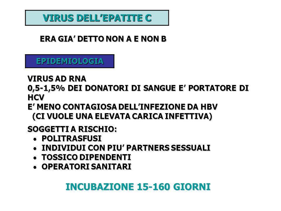 VIRUS DELL'EPATITE C INCUBAZIONE 15-160 GIORNI