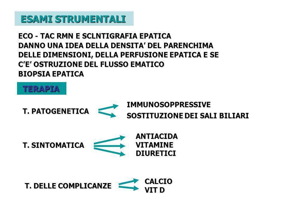 ESAMI STRUMENTALI TERAPIA ECO - TAC RMN E SCLNTIGRAFIA EPATICA