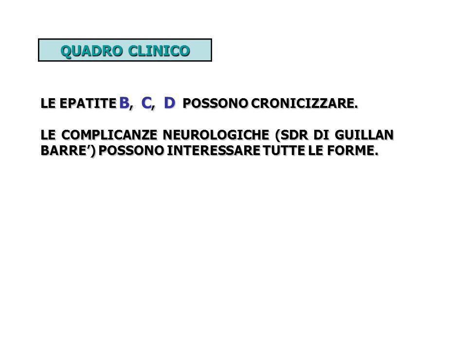 QUADRO CLINICO LE EPATITE B, C, D POSSONO CRONICIZZARE.