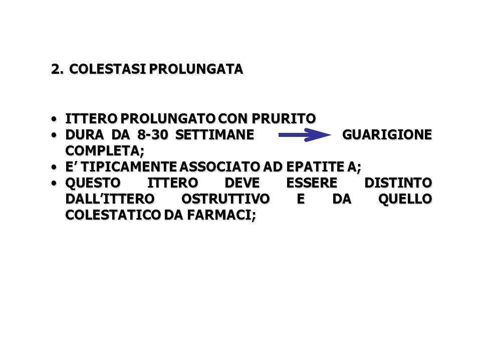 COLESTASI PROLUNGATA ITTERO PROLUNGATO CON PRURITO. DURA DA 8-30 SETTIMANE GUARIGIONE COMPLETA;