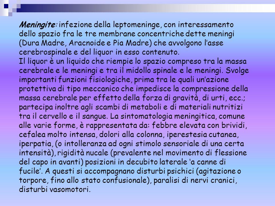Meningite: infezione della leptomeninge, con interessamento dello spazio fra le tre membrane concentriche dette meningi (Dura Madre, Aracnoide e Pia Madre) che avvolgono l'asse cerebrospinale e del liquor in esso contenuto.