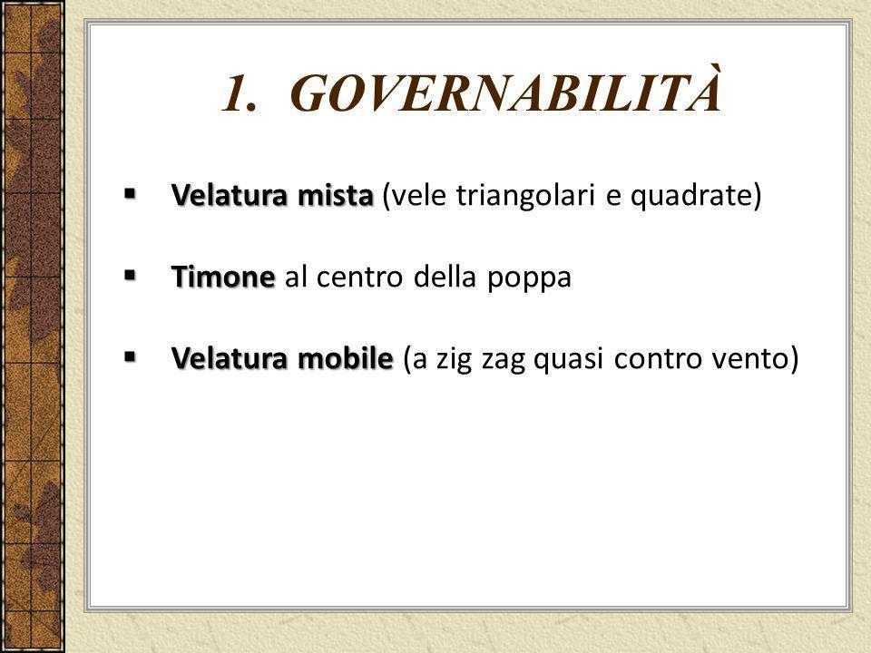 1. GOVERNABILITà Velatura mista (vele triangolari e quadrate)