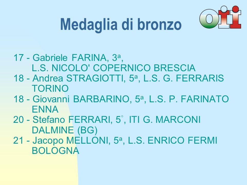 Medaglia di bronzo 17 - Gabriele FARINA, 3a,