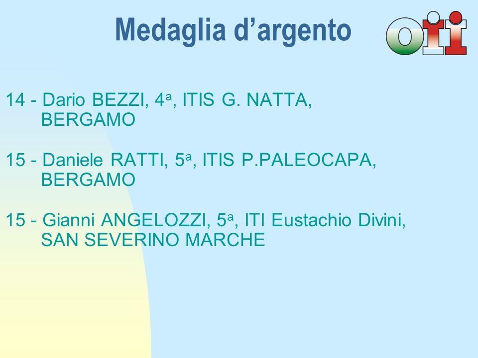 Medaglia d'argento 14 - Dario BEZZI, 4a, ITIS G. NATTA, BERGAMO