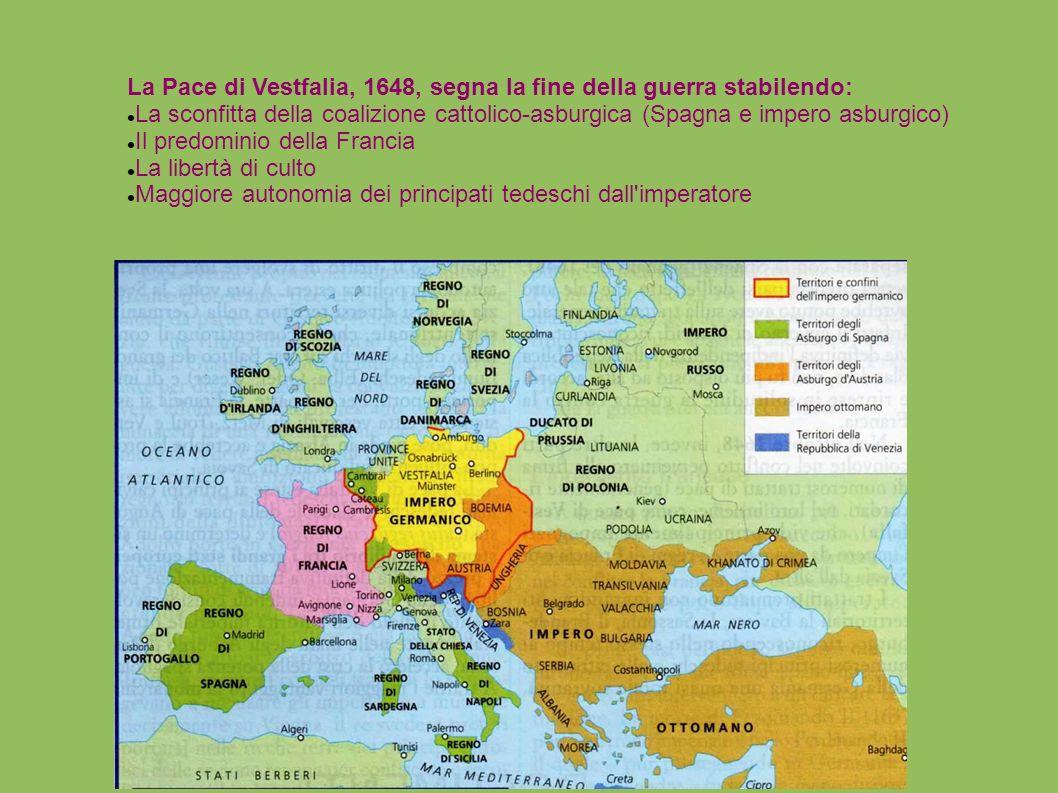 La Pace di Vestfalia, 1648, segna la fine della guerra stabilendo: