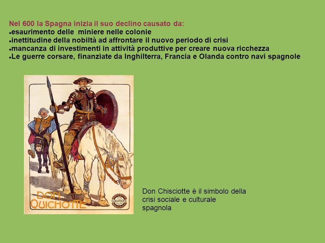 Nel 600 la Spagna inizia il suo declino causato da: