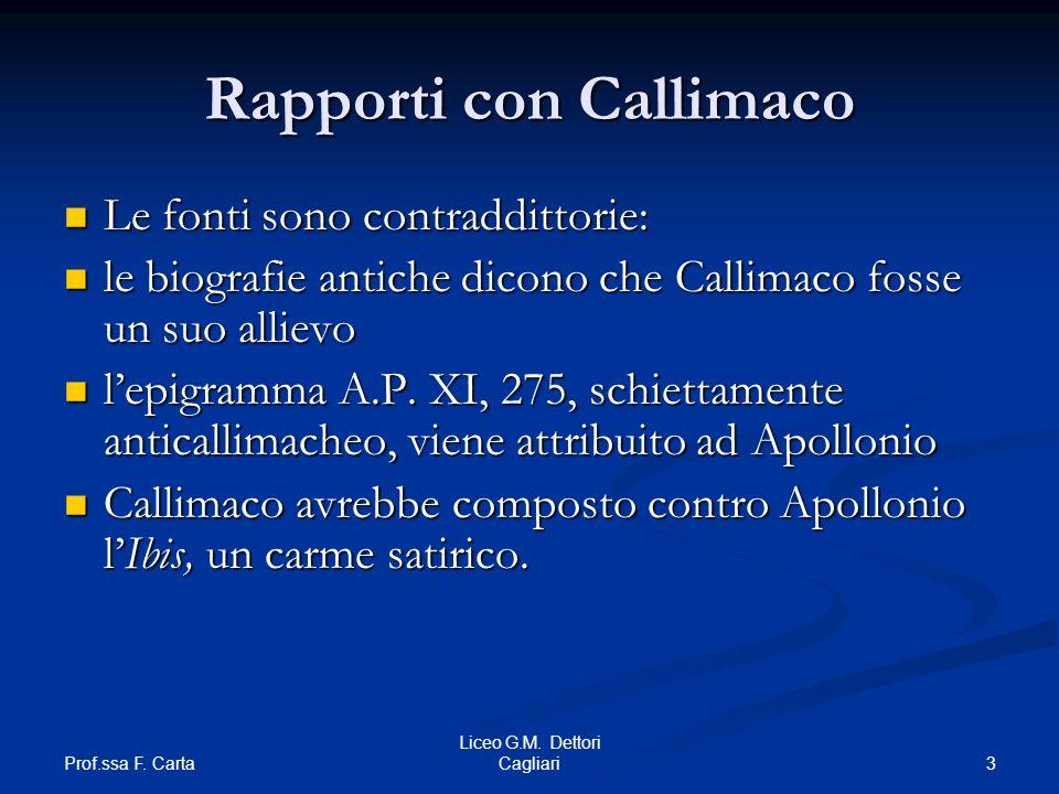 Rapporti con Callimaco