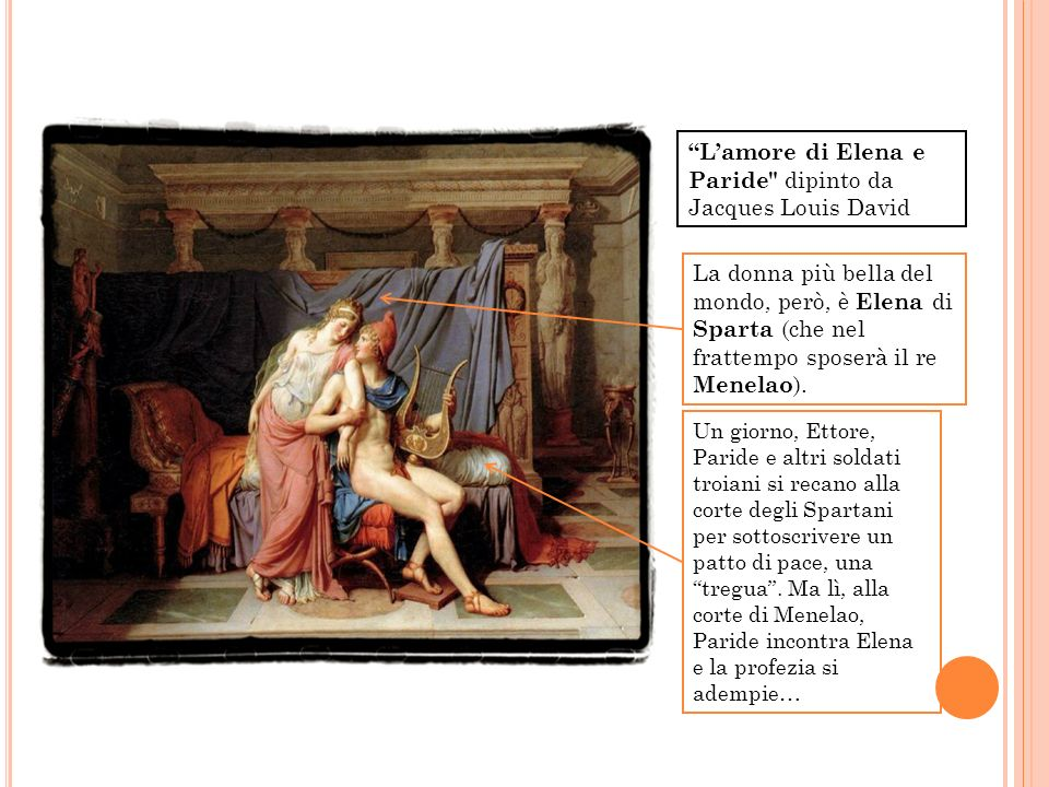 L'amore di Elena e Paride dipinto da Jacques Louis David