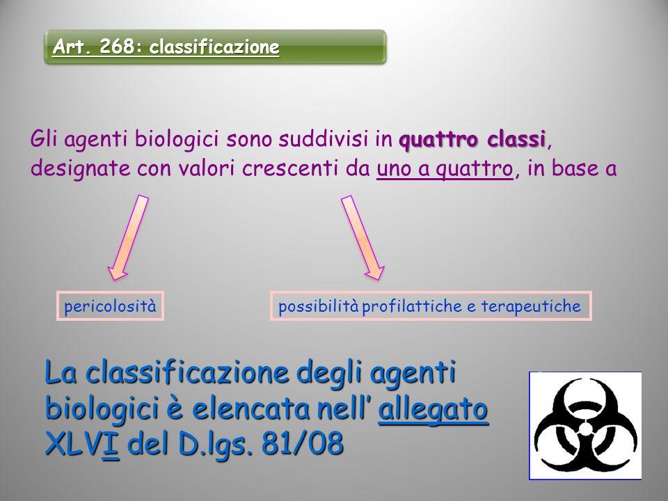 Art. 268: classificazione Gli agenti biologici sono suddivisi in quattro classi, designate con valori crescenti da uno a quattro, in base a.