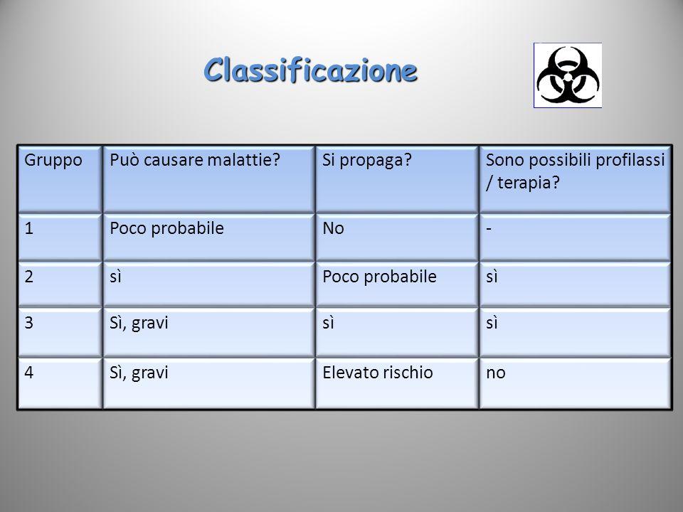 Classificazione sì Sì, gravi 3 no Elevato rischio 4 Poco probabile 2 -