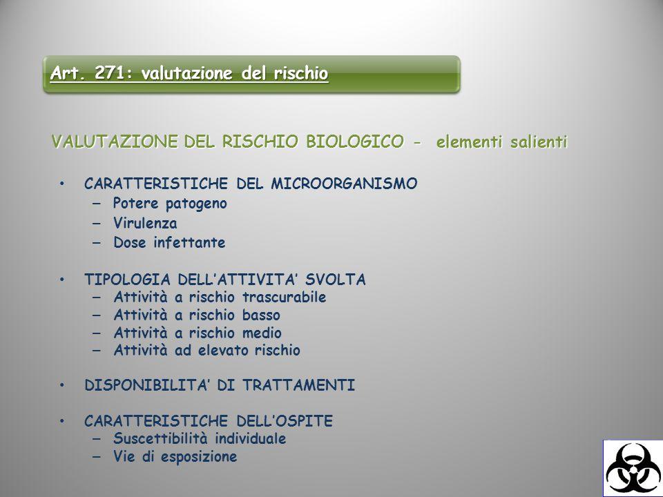 VALUTAZIONE DEL RISCHIO BIOLOGICO - elementi salienti