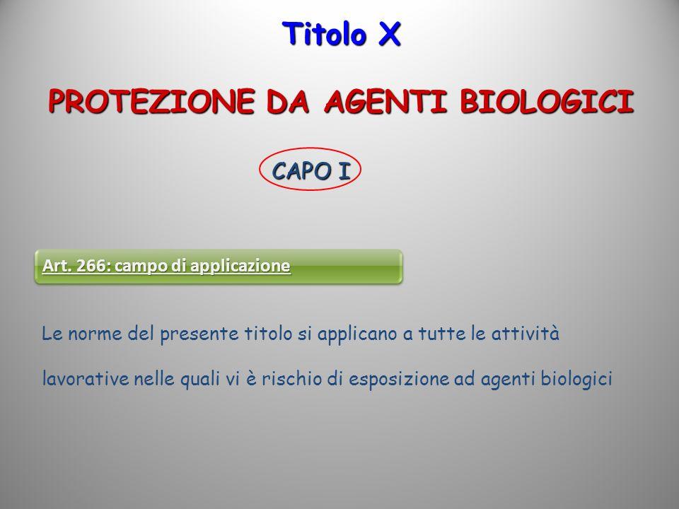 Titolo X PROTEZIONE DA AGENTI BIOLOGICI