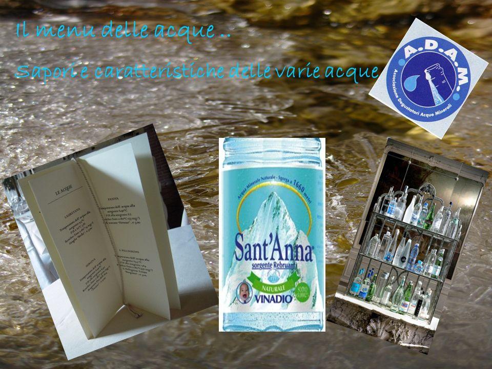 Il menu delle acque .. Sapori e caratteristiche delle varie acque