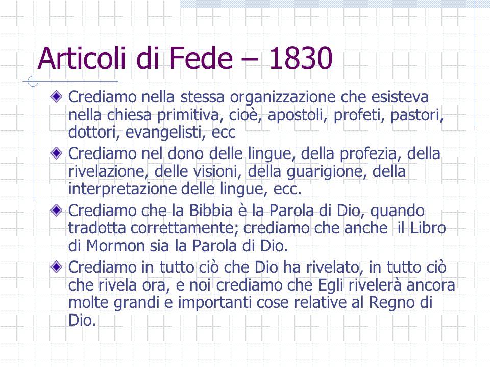 Articoli di Fede – 1830