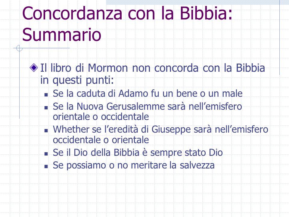 Concordanza con la Bibbia: Summario