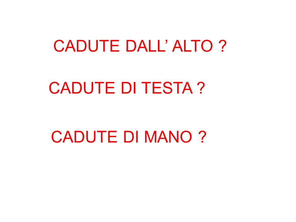 CADUTE DALL' ALTO CADUTE DI TESTA CADUTE DI MANO