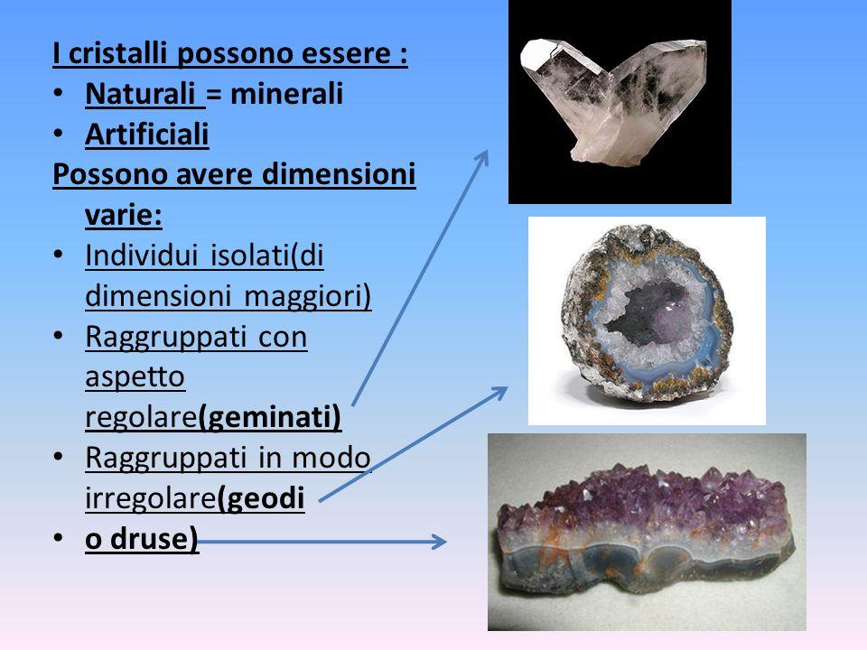I cristalli possono essere :