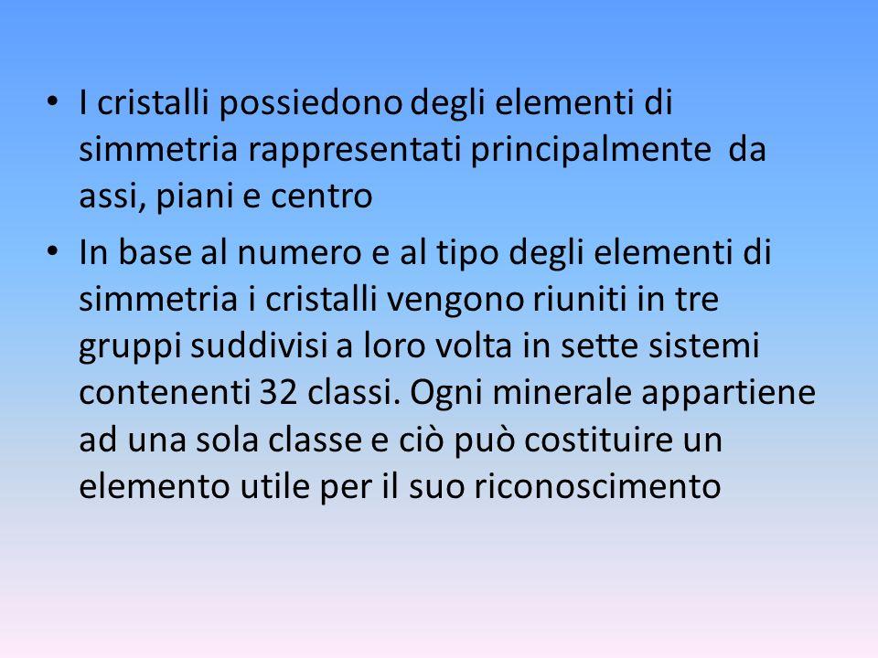 I cristalli possiedono degli elementi di simmetria rappresentati principalmente da assi, piani e centro