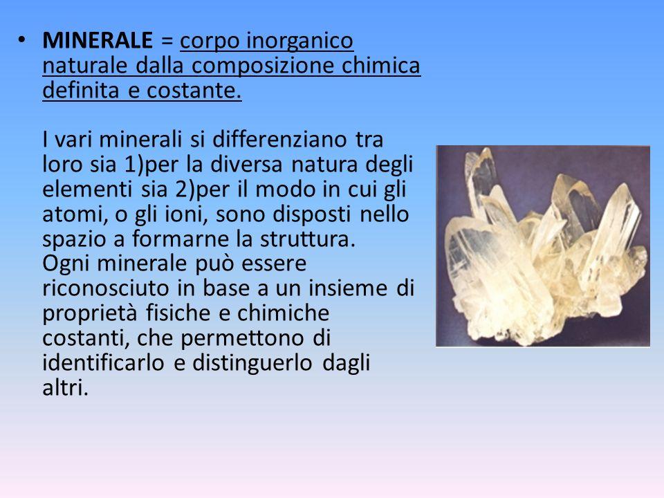 MINERALE = corpo inorganico naturale dalla composizione chimica definita e costante.