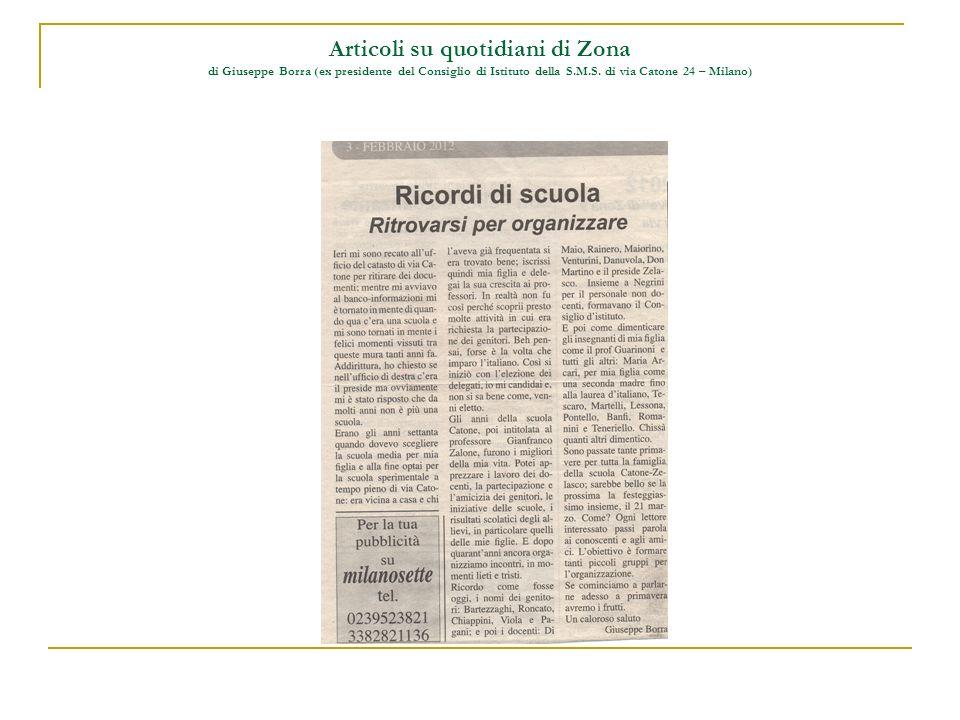 Articoli su quotidiani di Zona di Giuseppe Borra (ex presidente del Consiglio di Istituto della S.M.S.