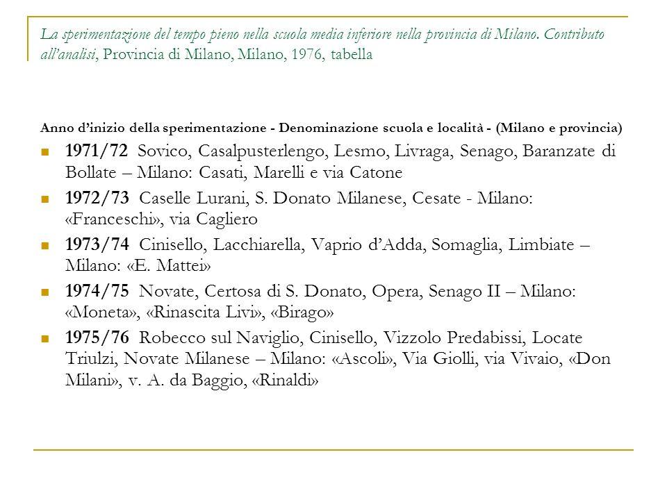 La sperimentazione del tempo pieno nella scuola media inferiore nella provincia di Milano. Contributo all'analisi, Provincia di Milano, Milano, 1976, tabella
