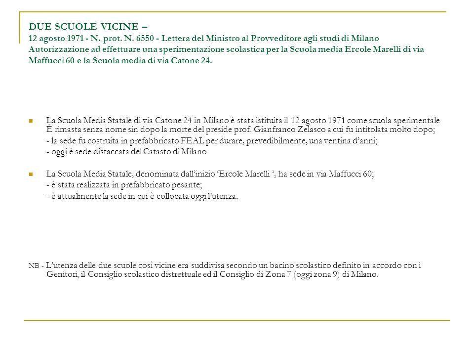 DUE SCUOLE VICINE – 12 agosto 1971 - N. prot. N