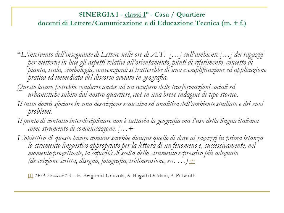 SINERGIA 1 - classi 1° - Casa / Quartiere docenti di Lettere/Comunicazione e di Educazione Tecnica (m. + f.)