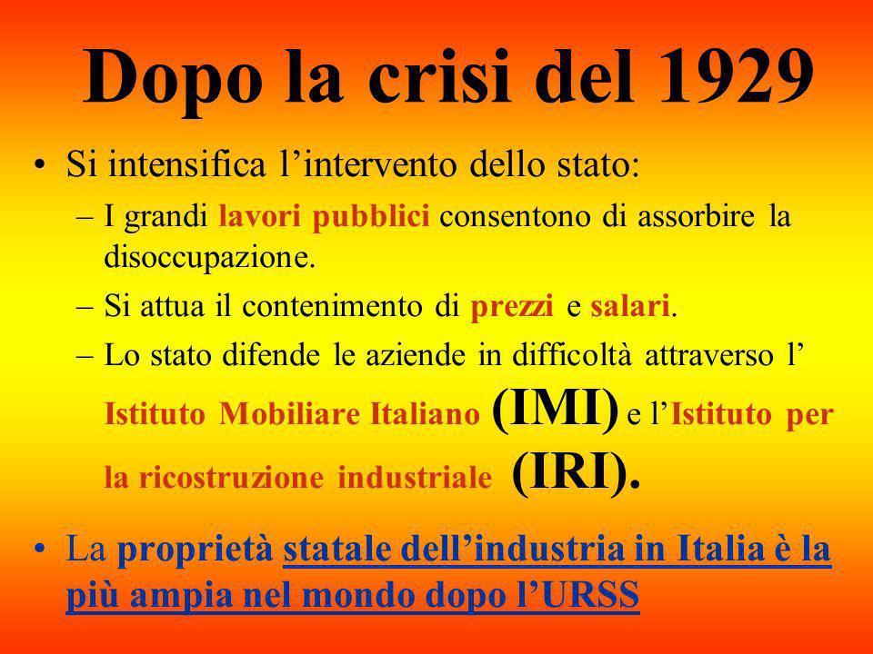 Dopo la crisi del 1929 Si intensifica l'intervento dello stato: