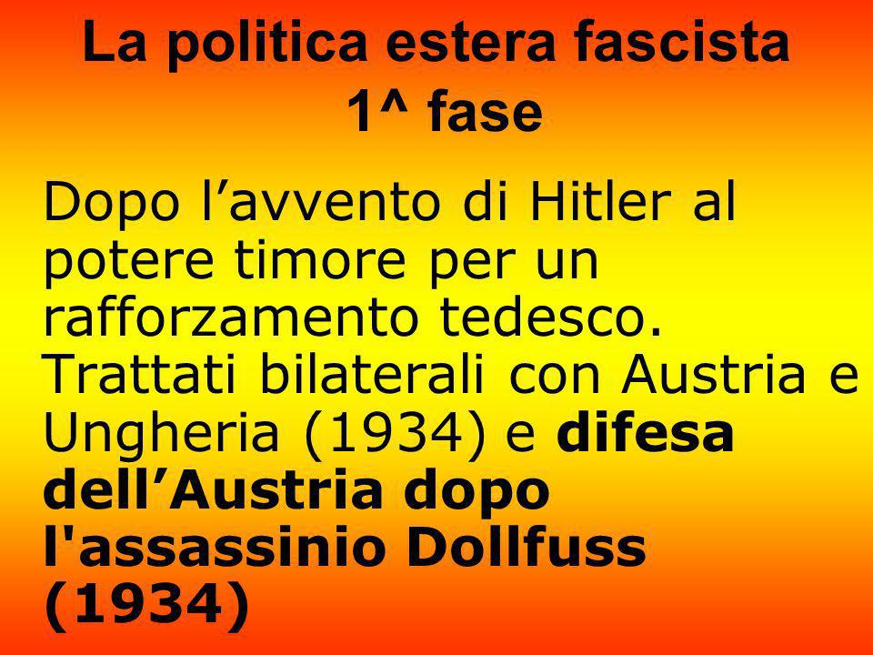 La politica estera fascista 1^ fase