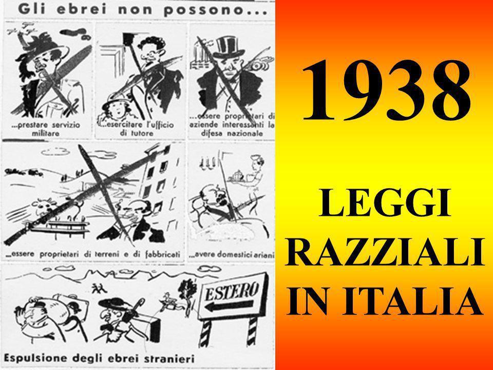 1938 LEGGI RAZZIALI IN ITALIA