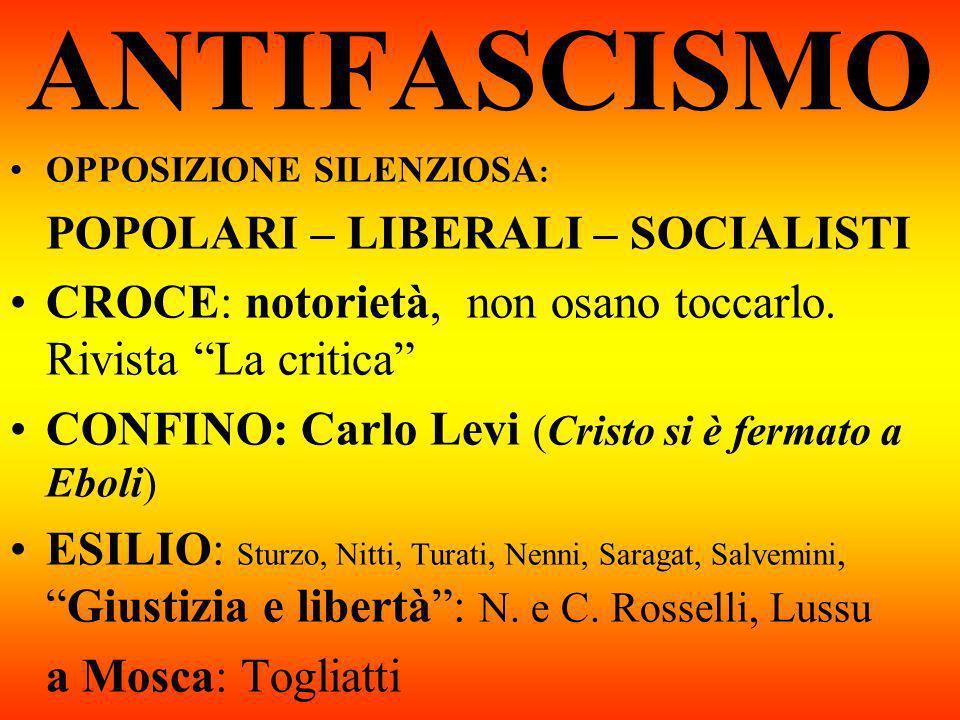 ANTIFASCISMO OPPOSIZIONE SILENZIOSA: POPOLARI – LIBERALI – SOCIALISTI. CROCE: notorietà, non osano toccarlo. Rivista La critica