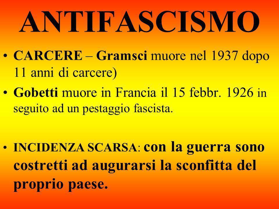 ANTIFASCISMO CARCERE – Gramsci muore nel 1937 dopo 11 anni di carcere)