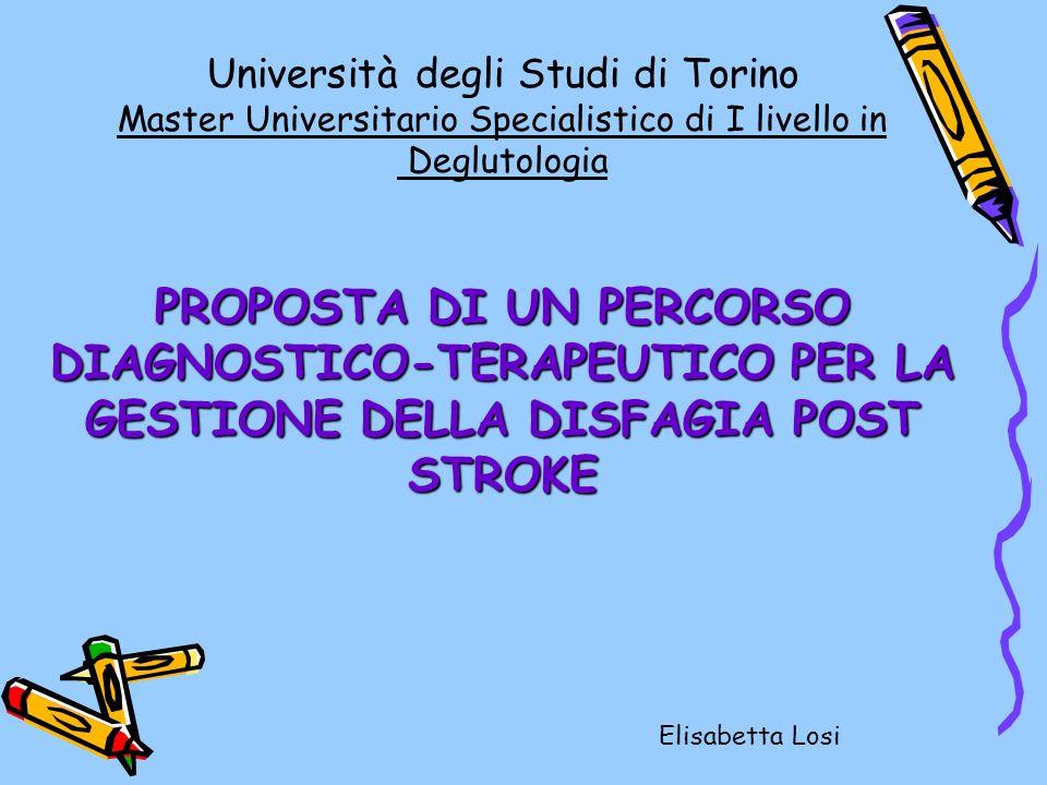 Università degli Studi di Torino Master Universitario Specialistico di I livello in Deglutologia PROPOSTA DI UN PERCORSO DIAGNOSTICO-TERAPEUTICO PER LA GESTIONE DELLA DISFAGIA POST STROKE