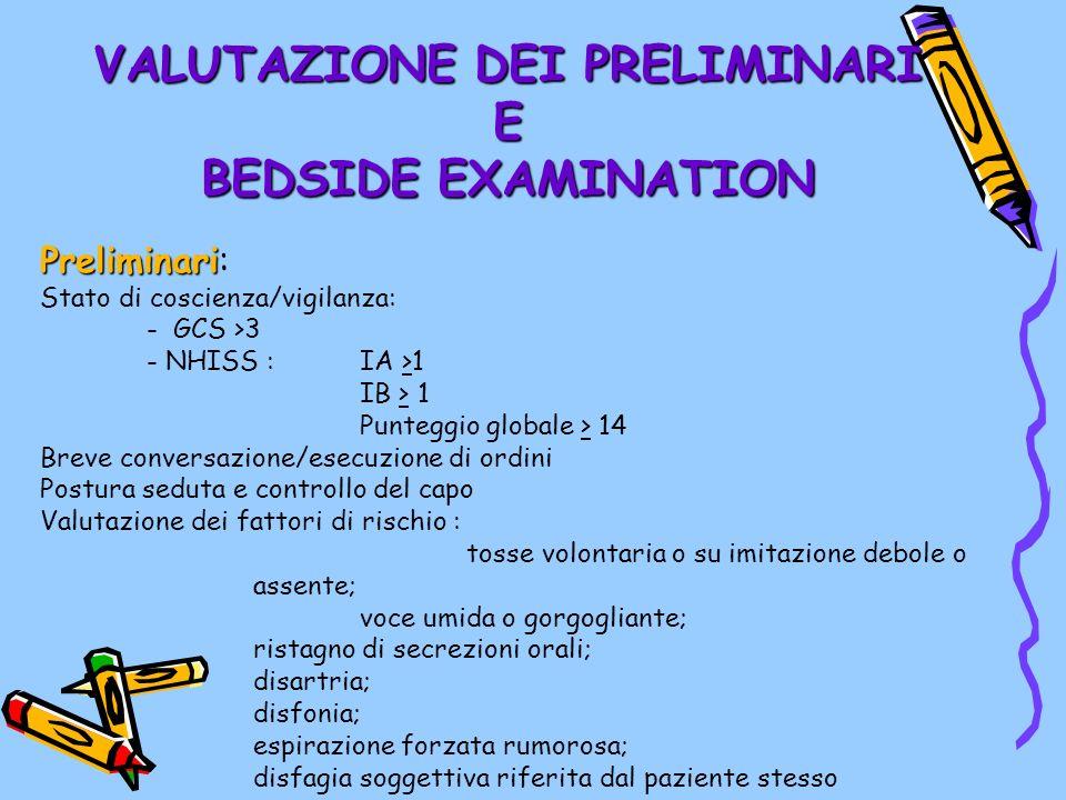 VALUTAZIONE DEI PRELIMINARI E BEDSIDE EXAMINATION