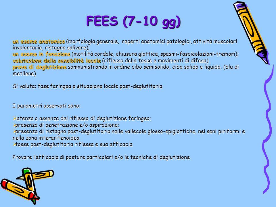 FEES (7-10 gg) un esame anatomico (morfologia generale, reperti anatomici patologici, attività muscolari involontarie, ristagno salivare);