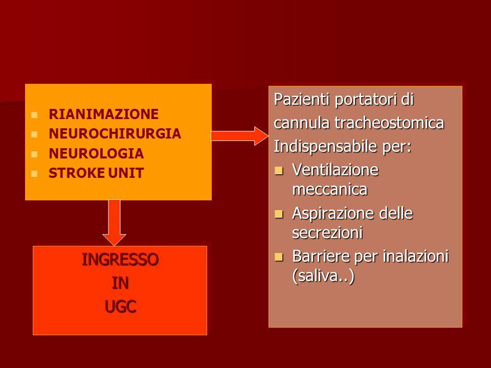 cannula tracheostomica Indispensabile per: Ventilazione meccanica