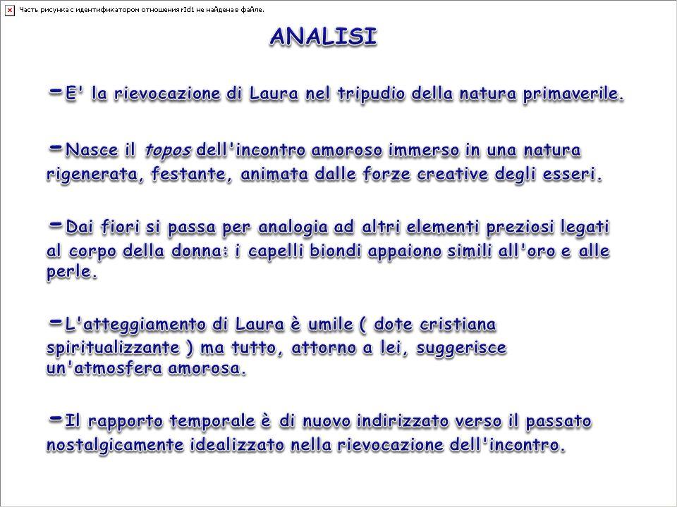 -E la rievocazione di Laura nel tripudio della natura primaverile.