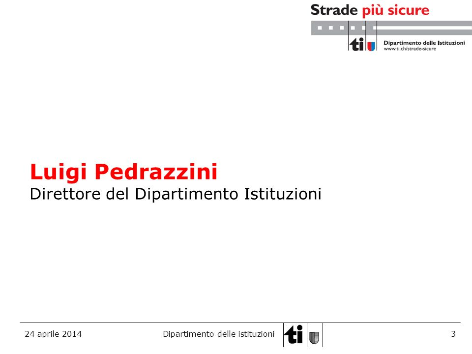 Luigi Pedrazzini Direttore del Dipartimento Istituzioni