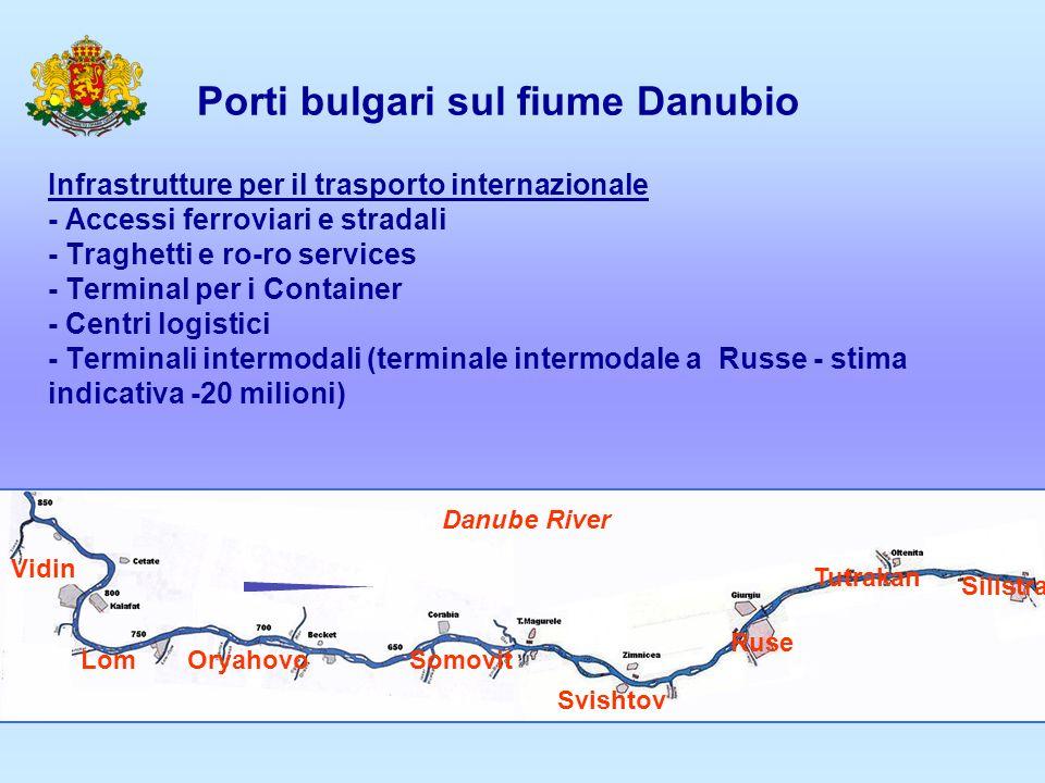 Porti bulgari sul fiume Danubio Infrastrutture per il trasporto internazionale - Accessi ferroviari e stradali - Traghetti e ro-ro services - Terminal per i Container - Centri logistici - Terminali intermodali (terminale intermodale a Russe - stima indicativa -20 milioni)