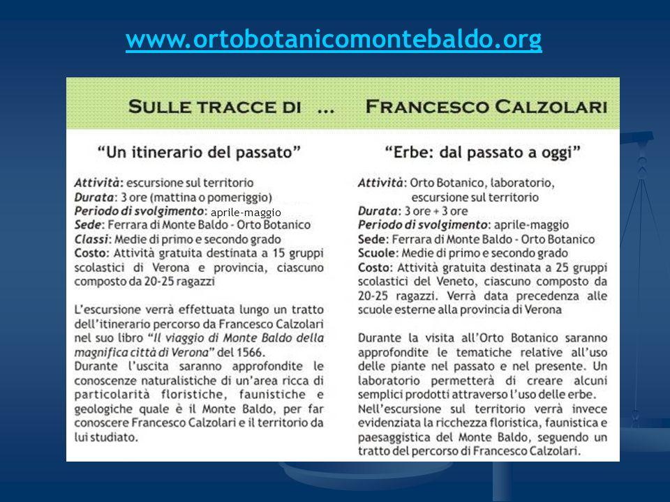 www.ortobotanicomontebaldo.org aprile-maggio