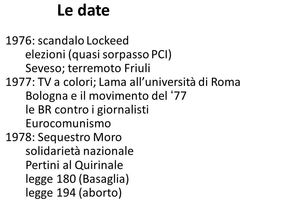 Le date 1976: scandalo Lockeed Seveso; terremoto Friuli