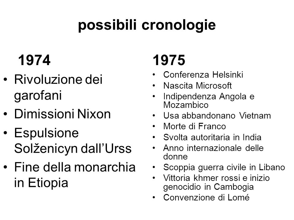 possibili cronologie 1974 1975 Rivoluzione dei garofani