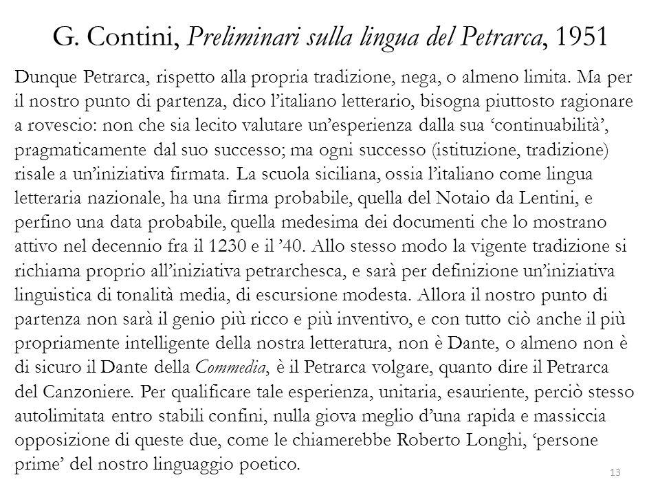G. Contini, Preliminari sulla lingua del Petrarca, 1951
