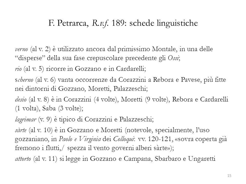 F. Petrarca, R.v.f. 189: schede linguistiche