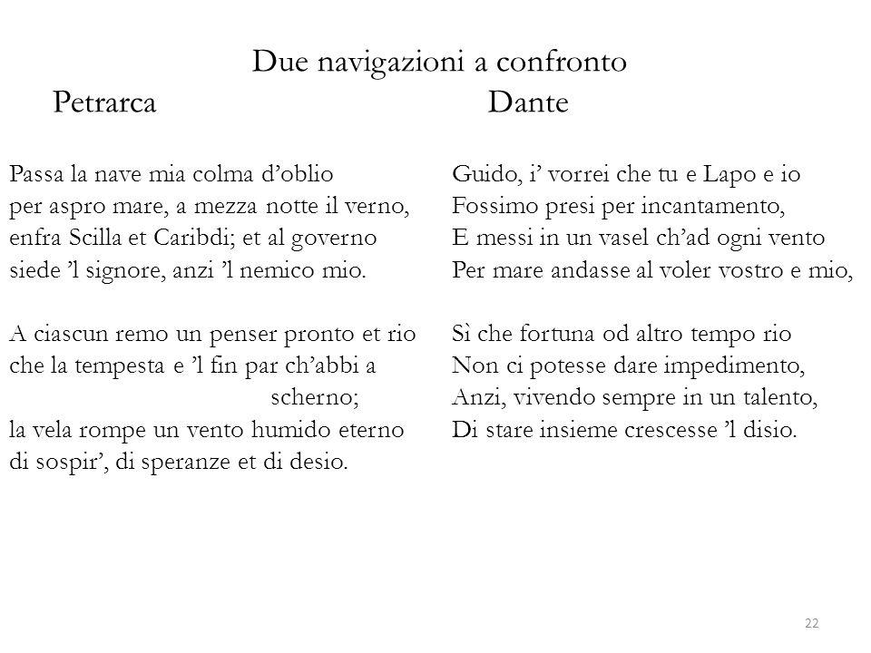 Due navigazioni a confronto Petrarca Dante