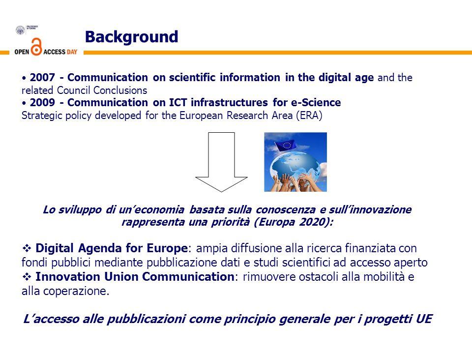 L'accesso alle pubblicazioni come principio generale per i progetti UE