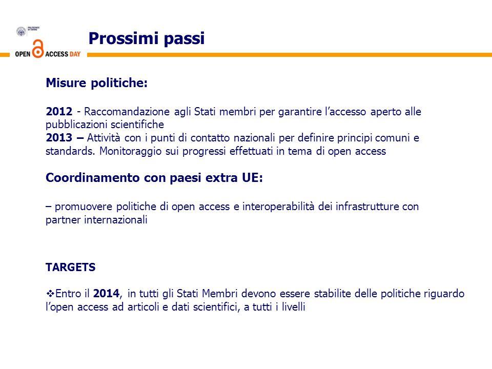 Prossimi passi Misure politiche: Coordinamento con paesi extra UE: